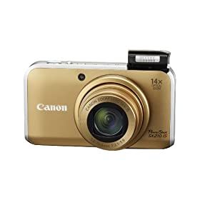 The Electronics World| Canon PowerShot SX210IS 14.1 MP Digital Camera with 14x Wide Angle Optical Image Stabilized Zoom and 3.0-Inch LCD (Gold)