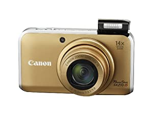 Canon PowerShot SX210IS 14.1 MP Digital Camera with 14x Wide Angle Optical Image Stabilized Zoom and 3.0-Inch LCD (Gold)