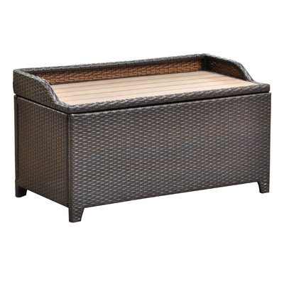 International Caravan Barcelona 40 in. Resin Wicker 60 Gallon Storage Deck Box with Faux Wood Top (Resin Bench Storage compare prices)