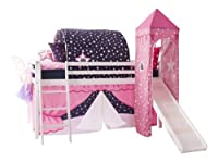 Cabin Bed Mid Sleeper ShowTime in White with Tower & Tent 6970-WG-SHOWTIME