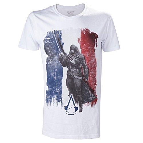Assassins Creed - T-Shirt Unity Flag da uomo - Motivo di Arno Dorian -Cotone - Bianco
