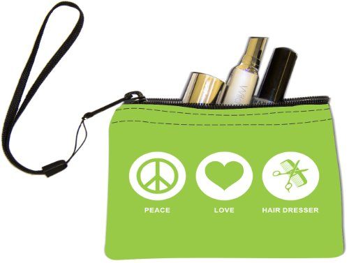 Rikki Knighttm Peace Love Hair Dresser Lime Green Color Keys Coins Cards Cosmetic Mini Clutch Wristlet front-1070704
