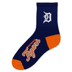 MLB Detroit Tigers Mens Team Quarter Socks, Medium by For Bare Feet