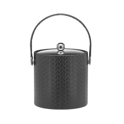 Kraftware Ice Bucket With Bale Handle And Metal Cover, Black - 3 Quart