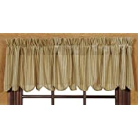 Country Style Greens, Cream, Tan, Deep Mauve Valance Scalloped Lined 16x72