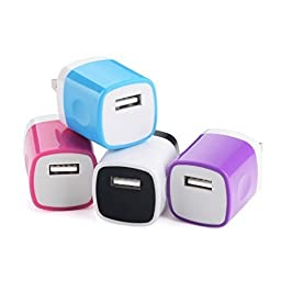 Wall Charger, BestElec 4-Pack USB 1AMP Universal Power Home Travel Wall Charger Plug for iPhone 6 Plus, 6s Plus, iPad, iPod Touch, Tablet, Samsung Galaxy S6 Edge, Note 5, HTC, LG and More Device
