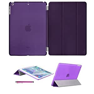 New iPad Air (iPad 5) with Retina Display Premium Quality Case Cover in with Front & Back Protection Smart Cover With Magnetic Auto Wake & Sleep Function - Full Grade Leather (PU) with Smooth Satin Inner Cloth with Screen Protector (Purple)