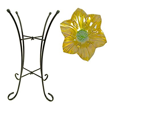 Continental Art Center Flower Shaped Glass Birdbath, 15 by 15 by 20-Inch, Yellow
