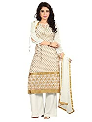 SR Women's Cotton Unstitched Dress Material (Beige Top Bottom Duptta)