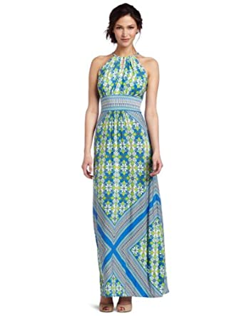 London Times Women's Egyptian Floral Border Printed Matte Jersey Maxi Dress, Soft White/Blue, 8