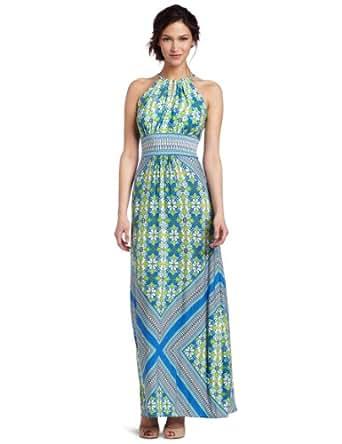London Times Women's Egyptian Floral Border Printed Matte Jersey Maxi Dress, Soft White/Blue, 8