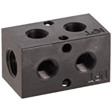 "Polyconn PCM10-125R-02B 90 Degree Black Anodizing Aluminum Manifold, 1/4"" NPT Female x 1/8"" NPT Female, 2 Stations"