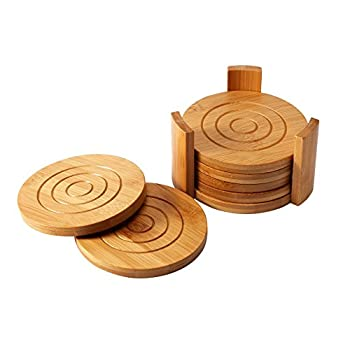 Heavy Duty Bamboo Coaster Set - Absorbs Spills and Condensation - Contemporary Design - Includes 7 Coasters and Custom Holder - Tan - 4.3 x 4.3 x 2.7 Inches