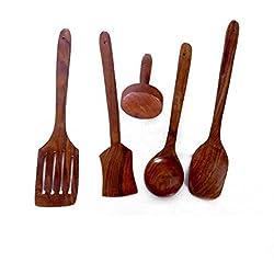 Onlineshoppee Wooden Kitchen Handmade Design Spoon Set of 5