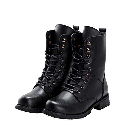 jeansian Moda Donna Casuale Carpe Scarpe Martin Stivali Boots Shoes WSA018 Black 36
