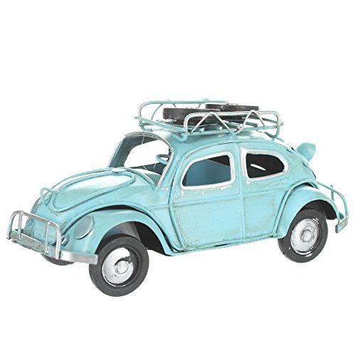 Retro VW Style Beetle With Spare Wheels On Roof Rack - Blue