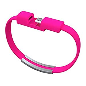 RELPER Mini Short Flat Bracelet Micro 5p Charging Data Cable for Android Samsung HTC NOKIA Phone (pink)