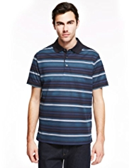 Blue Harbour Luxury Pure Cotton Mercerised Striped Polo Shirt