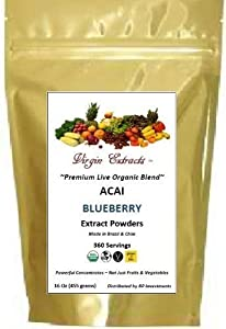 Virgin Extracts (TM) Pure Premium Freeze Dried Organic Acai Berry Blueberry Powder Blended Extract 4:1 Concentrate (4 X Stronger) 16oz Pouch