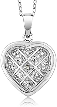 Gem Stone King womens Diamond Heart Pendant