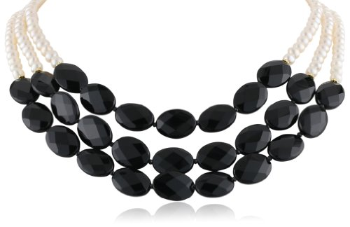 """Three-Row Black Onyx and White Freshwater Cultured Pearl Necklace, 18"""""""