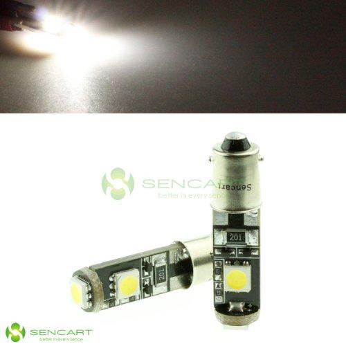 Ba9S 1.2W 100-Lumen 7000K 3-Smd Led Car White Light Bulb (Dc 12V)