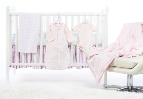 SwaddleDesigns 7 Piece Crib Bedding Set with Crib Skirt with Luxury Adult Blanket, Pastel Pink, 0-6months