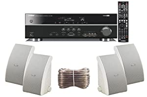 Yamaha 3D-Ready 5.1-Channel 500 Watts Digital Home Theater Audio/Video Receiver With a USB Digital Input and Connecting Cable to Play & Charge Your iPod or iPhone & Control Remotely + Set of 4 Yamaha All Weather Indoor / Outdoor 180 watt Wall Mountable Na