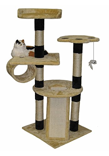 Go Pet Club Cat Climber Condo, 52-Inch, Beige