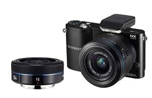 Samsung NX1000 Digital Compact System Camera Twin Kit - Black (20-50MM F3.5-5.6 II and 16MM F2.4 Lens, 20MP)