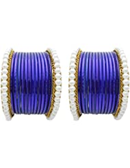 Designer Blue Pearl Bridal Bangles Set By My Design(size-2.8)