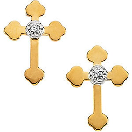 14K Yellow Gold Diamond Stud Cross Earrings - 11 x 8mm