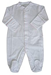 Kissy Kissy Baby Signature Footie-White with Pink-0-3 Months