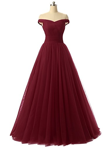 Nina A-line Tulle Prom Formal Evening Dress Ball Burgundy 12