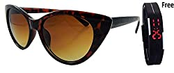 FREE WATCH WITH CAT EYE FOR WOMEN SUNGLASSES - 2172