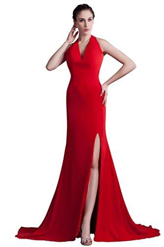 GEORGE BRIDE Sexy Side Split anteriore Halter Satin corpetto superiore con il vestito da sera in chiffon treno cappella ,Taglia 48,rosso