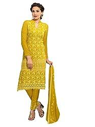 Isha Enterprise Women's Chiffon Dress Material(KFD400-1759_Yellow)