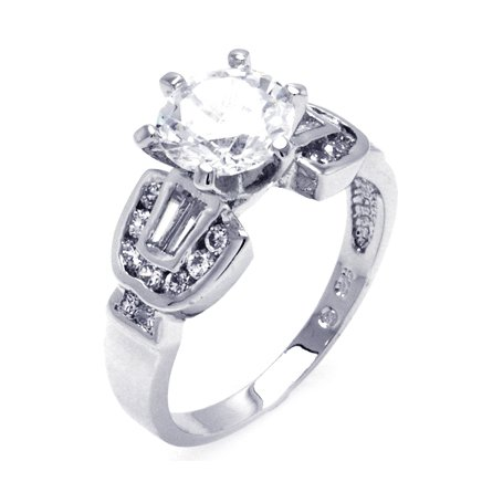 Splendid Sterling Silver Engagement Ring, Crafted with High Quality Round-Cut and Baguette Cubic Zirconia , Limited-Time Sale Offer, Comes with Free Gift Pouch and Gift Box (6)