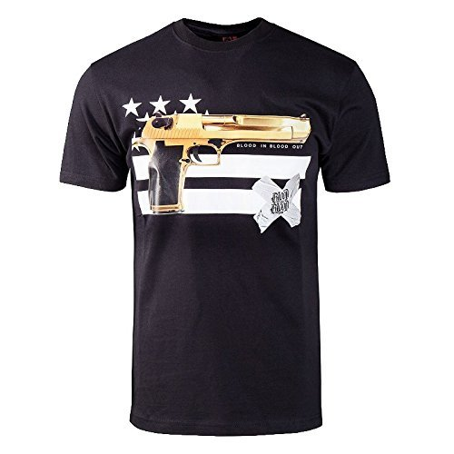 Blood In Blood Out T-Shirt Gun and Stripes, Color:black;Größe:S
