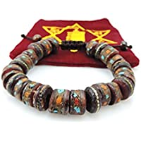 TIBETAN MEDICINE WRIST MALA ~ Yak Bone, Turquoise, Coral, Copper, White Metal, & Brass ~ Healing Bracelet W/ Om...