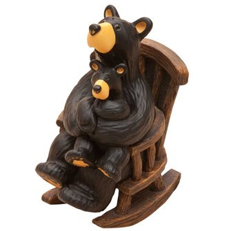 BearFoots Cuddle Time Black Bear with Cub in Rocking Chair Figurine by Demdaco (Big Bear Chair compare prices)
