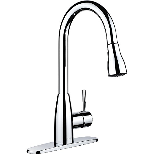 pH7174; F04 1-hole or 3-holes Plastic Pull-down Kitchen Sink Faucet with Deck Plate; 1- handle Kitchen Faucet; Excellent Finish, Nylon Hose, and Docking System, Chorme (1 Handle Kitchen Faucet compare prices)