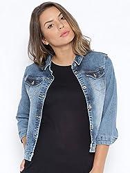 Kraus Jeans Women's Cotton Parka Jacket (LJ-100_Mid Blue_ S)