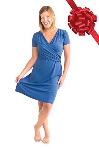 Kindred Bravely The Angelina Ultra Soft Maternity & Nursing Nightgown Dress (True Blue, Medium)