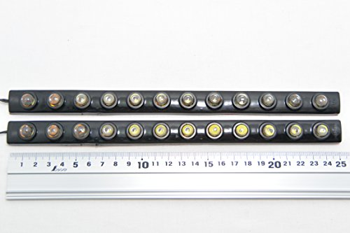 LED デイライト ラバータイプ 【 極 】軍手一組&マイクロファイバークロス1枚付き! (12連 2個セット)