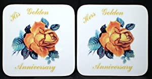"""50th Golden Anniversary -gift """"His"""" & """"Hers"""" Pair of Coasters"""
