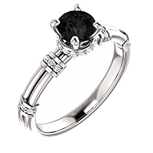 18K White Gold Round Cut Black Diamond Engagement Ring - 0.88 Ct.