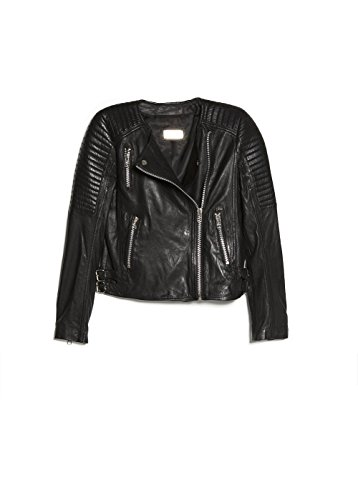 Mango Women'S Quilted Leather Jacket, Black, M