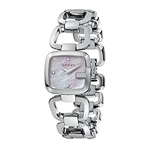 Gucci G-Gucci Collection Women's Quartz Watch with Mother of Pearl Dial set with 3 diamonds Analogue Display and Stainless Steel Bracelet YA125502
