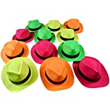 Dazzling Toys Neon Colored Plastic Gangster Hats 24 Pack